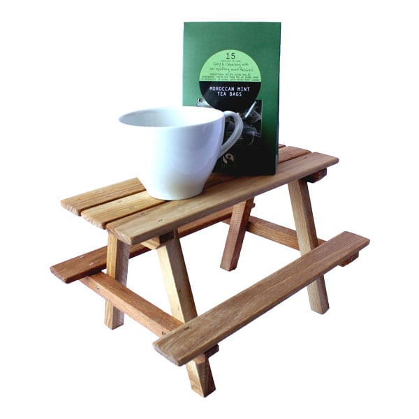 Mini Oak Picnic Bench Display Riser A Quirky Tea And Cake Stand