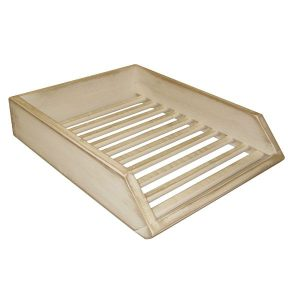 White distressed Painted Wooden Baguette Tray