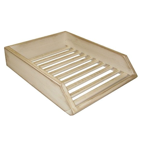 White distressed Painted Wooden Baguette Tray 400x300x80