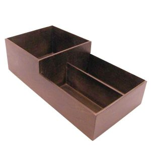 Darl Brown Rustic 2-tier 3 Compartment Cup & Lid Holder 500x250x150