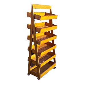 Rustic 6-Tier Slanted Wooden A-Frame Display Stand 750x400x1800