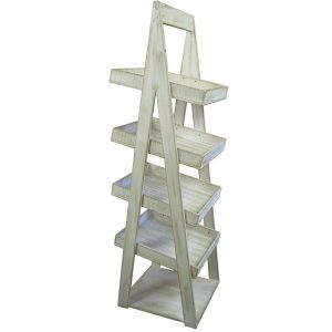 White Distressed Painted 4 Tier A-Frame Display Stand