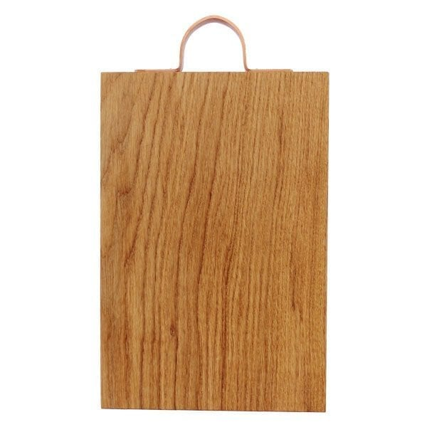 Rustic Square Edged Copper Handle Oak Chopping Board 350x220x34