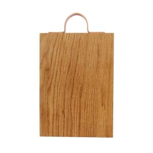 300mm Rustic Square Edged Copper Handle Oak Chopping Board