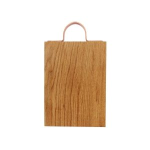 250mm Rustic Square Edged Copper Handle Oak Chopping Board