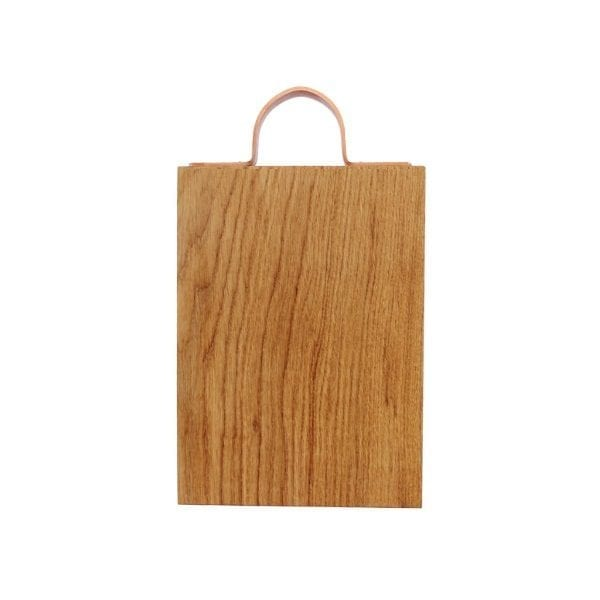 Rustic Square Edged Copper Handle Oak Chopping Board 250x170x34
