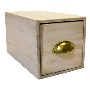 Single white bread bin with brass handle