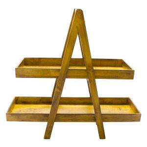 Stained 2 Tier Double Sided Level Wooden A-Frame