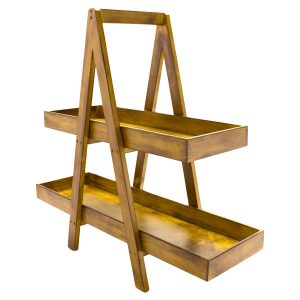 Rustic 2-Tier Double Sided Level Wooden A-Frame 800x270x810