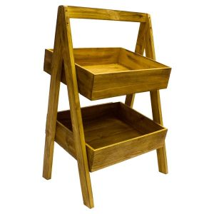 Rustic 2 Tier Slanted Wooden A-Frame Display Stand