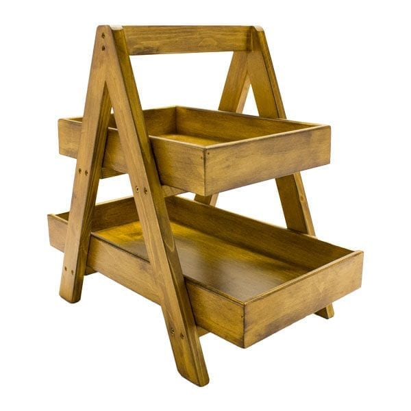 Rustic 2-Tier Double Sided Level Wooden A-Frame Display 450x270x420