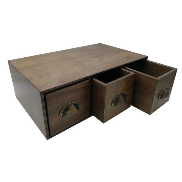 rustic brown triple bread bin flat distressed bronze handles drawers open
