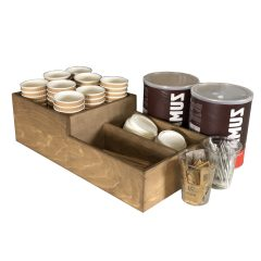 distressed Rustic 2-tier 3 Compartment Cup & Lid Holder 500x250x150