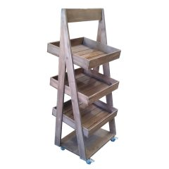 rustic 1300mm 3-tier slanted wooden a-frame display stand