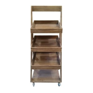 rustic 1300mm 3-tier slanted wooden a-frame display stand front view