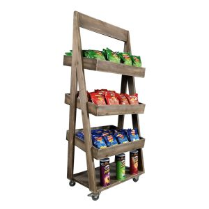 Rustic 3-Tier Slanted Wooden A-Frame Display Stand 540x460x1300 in use