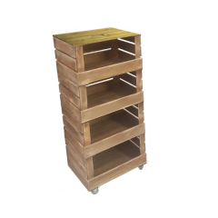 4 Crate Rustic Mobile Tower Storage Unit 500x370x1110
