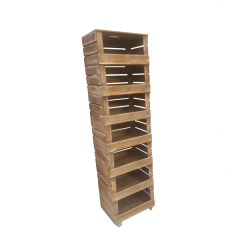 7 Crate Rustic Mobile Tower Storage Unit 500x370x1884