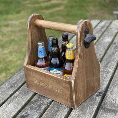 Personalised Rustic Beer Caddy Daddys beer
