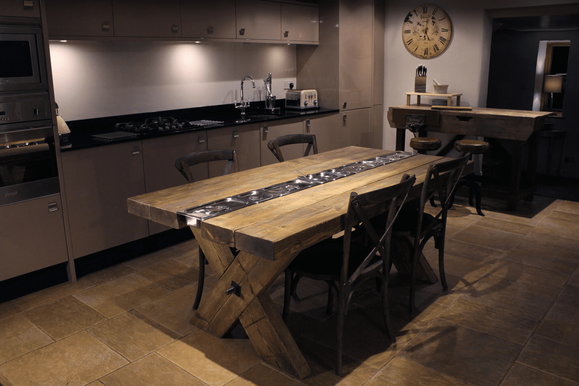 Rustic gastronorm dining table in the kitchen