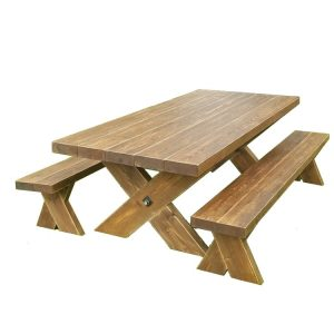 rustic garden table and bench set