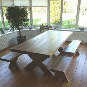 rustic farmhouse table and bench set in situ