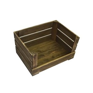 brown drop front rustic crate