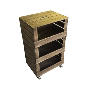 rustic drop front stacker crate system