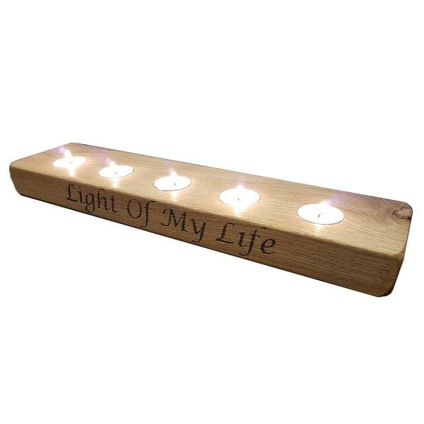 plain oak tea light holder with 4 lights