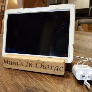 oak tablet holder personalised by mum in use