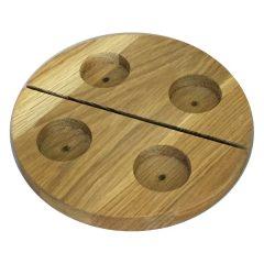 Round Oak Tea Light Holder with slot plain