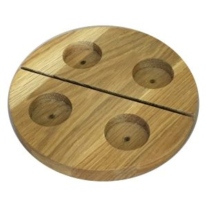 Round Oak Tea Light Holder with slot plain