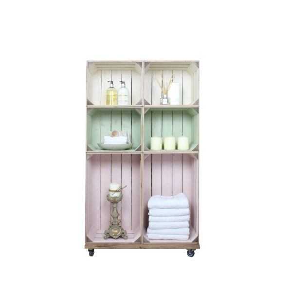 Slim 6 Mobile Colour Burst Crate Display 745x297x1300 in use