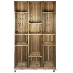 Wide 12 Mobile Brown Crate Display 1115x297x1900