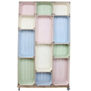 Wide 12 Mobile Colour Burst Crate Display 1115x297x1900