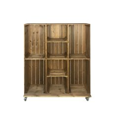Wide 8 Mobile Brown Crate Display 1115x297x1300