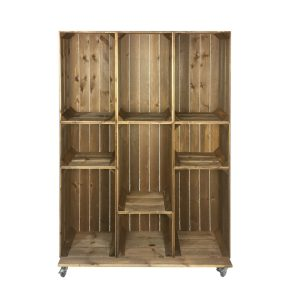 Wide 9 Mobile Brown Crate Display 1115x297x1600