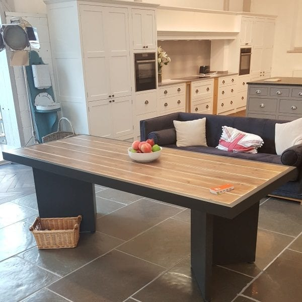 framed rustic kitchen table in use