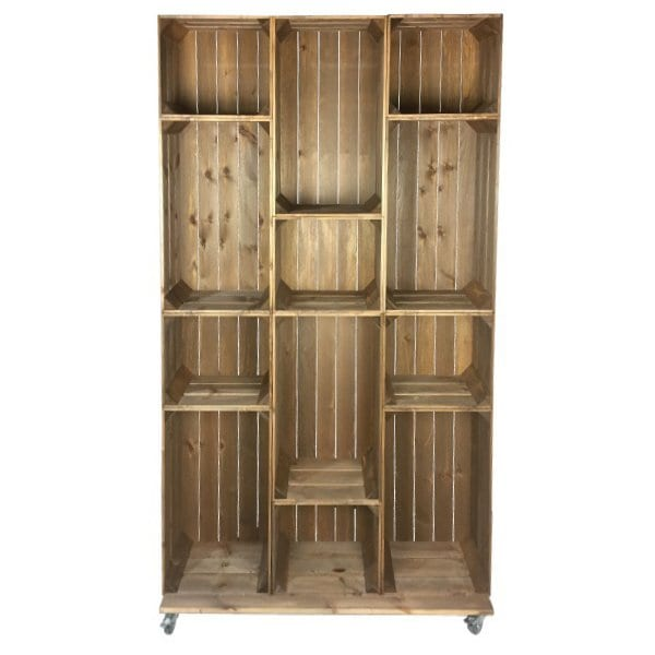 Wide 12 mobile brown crate display beautiful rustic for Canape display stands
