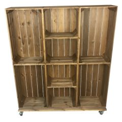 Wide 8 Mobile Brown Crate Display