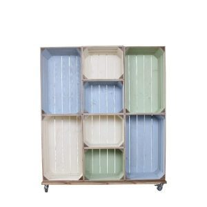 wide 8 mobile colour burst crate display