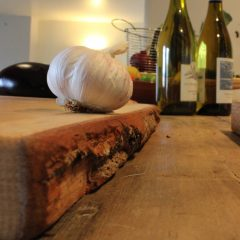 rustic bark edged oak chopping board