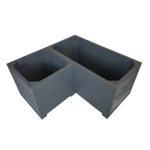 Amberley Grey Painted corner square planter set plain