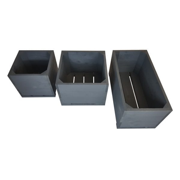 Amberley Grey Painted triple square planter set plain