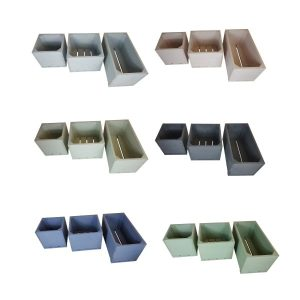 Painted triple square planter set sellection plain