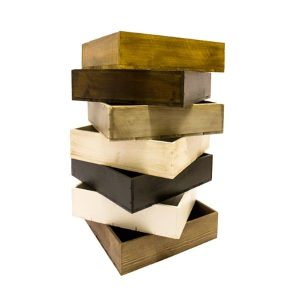 high depth stacked stained box trays