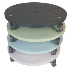 large painted round pot stand stacked plain