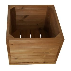 large square thermowood planter sideview plain