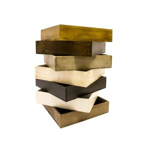 medium depth stacked stained box trays