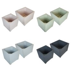 painted double square planter set selection plain